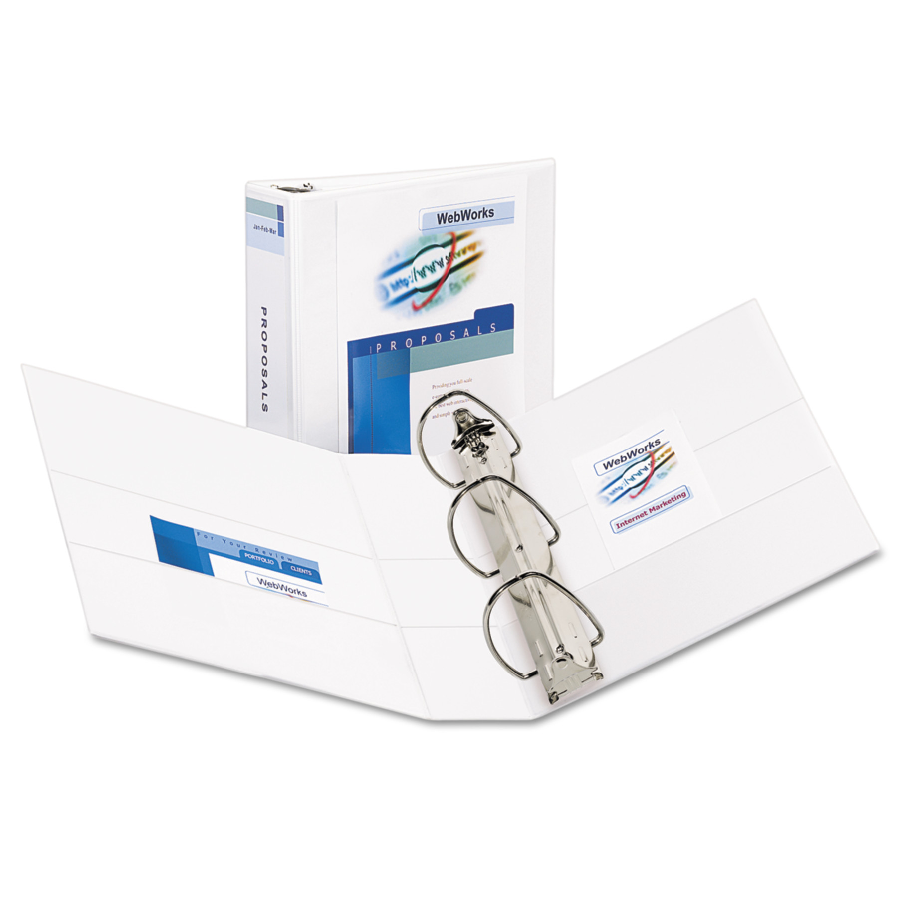 "Avery Durable View Binder w/Nonlocking EZD Rings, 11 x 8 1/2, 3"" Cap, White"