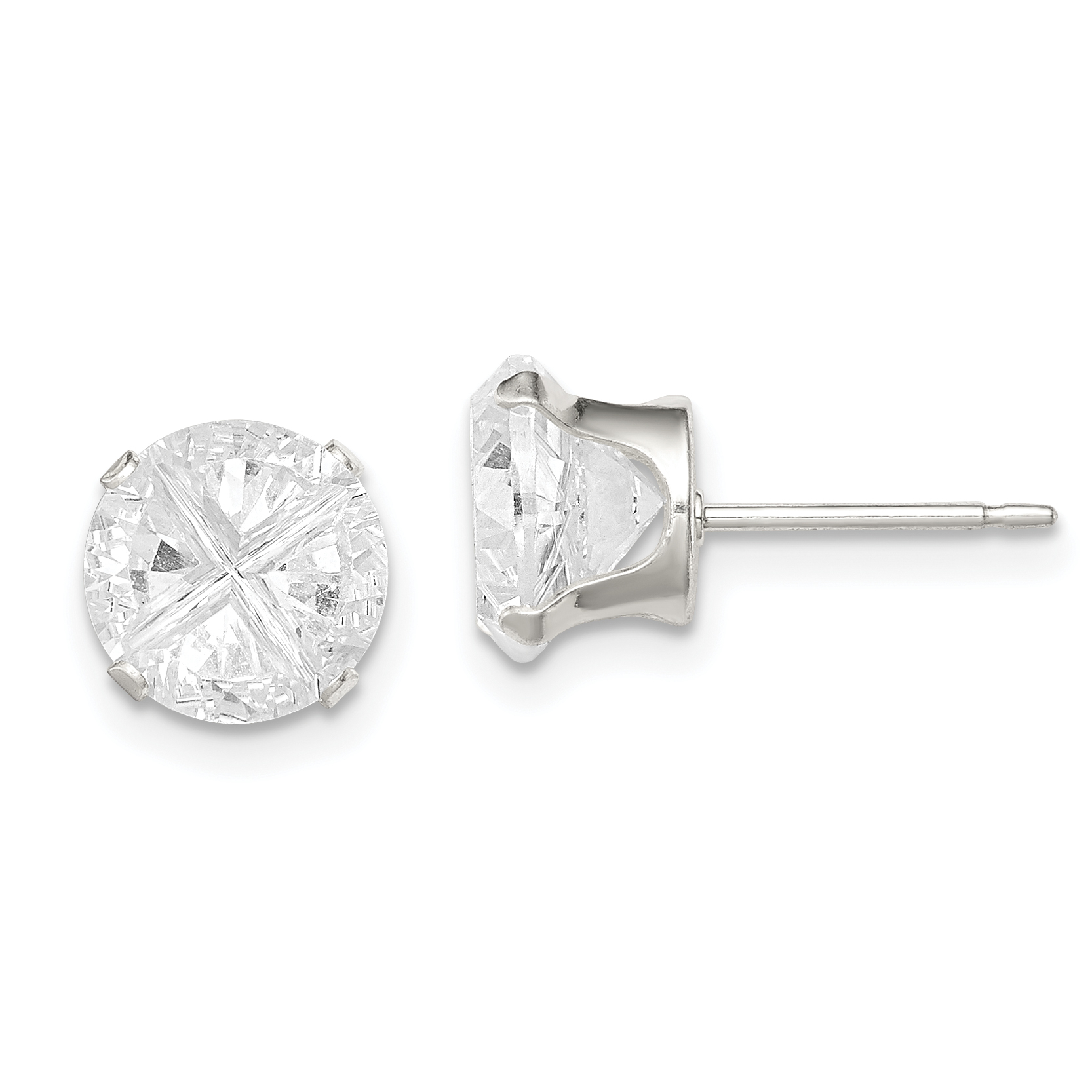 925 Sterling Silver 8mm Round Snap Set Cubic Zirconia Cz Stud Earrings Square Fine Jewelry Gifts For Women For Her - image 3 de 3