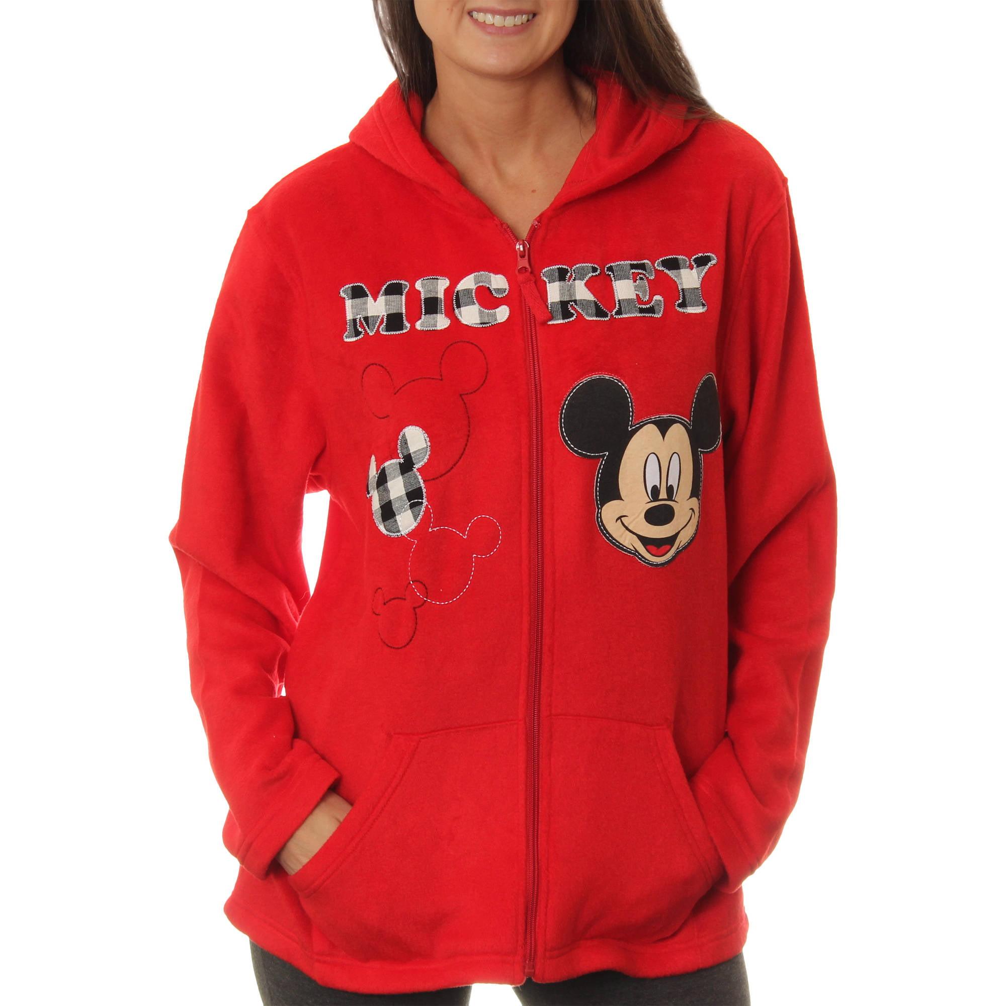 Disney Women's Mickey Mouse Plush Fleece Full Zip Hoodie