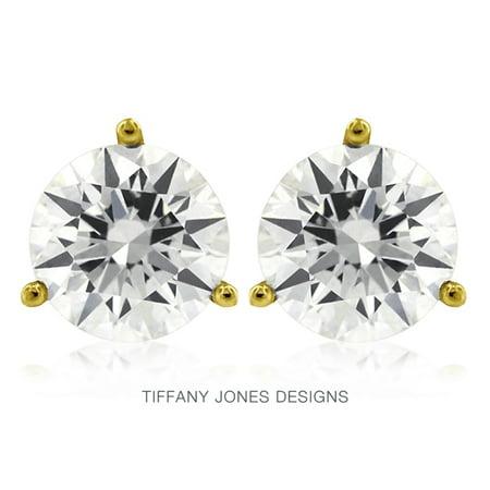 0.90 TCW J-SI3 Ex Round Natural Diamonds 14k Gold 3-Prong Set Martini Studs 0.9g