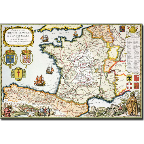 Trademark Art 'Map of Routes of St. James, 1648' Canvas Art by D. Serveaux