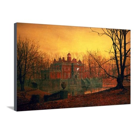 Haunted Paintings (The Haunted House Country Home at Sunset Landscape Painting Stretched Canvas Print Wall Art By John Atkinson)