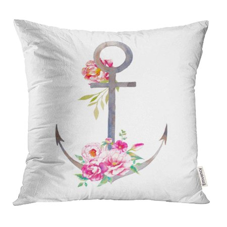 CMFUN Nautical Anchor and Floral Bouquets Hand Summer Travel Sea and Peony Flowers Pillowcase Cushion Cases 18x18 inch