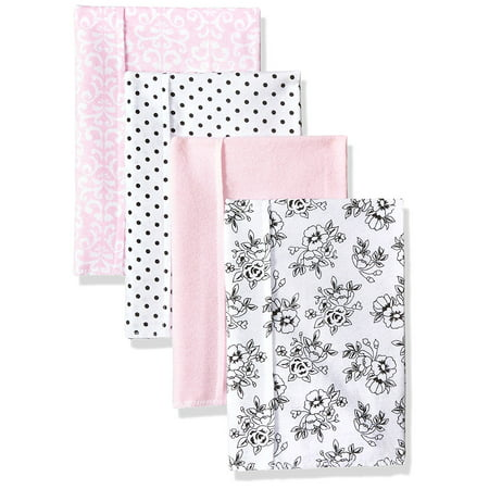Hudson Baby Baby Flannel Burp Cloths, black/pink floral, One Size, 4 flannel burp cloths By Hudson-Baby