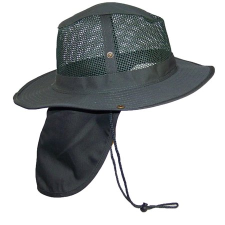 Tropic Hats Summer Wide Brim Mesh Safari/Outback W/Neck Flap & Snap Up Sides - Hunter XXXL