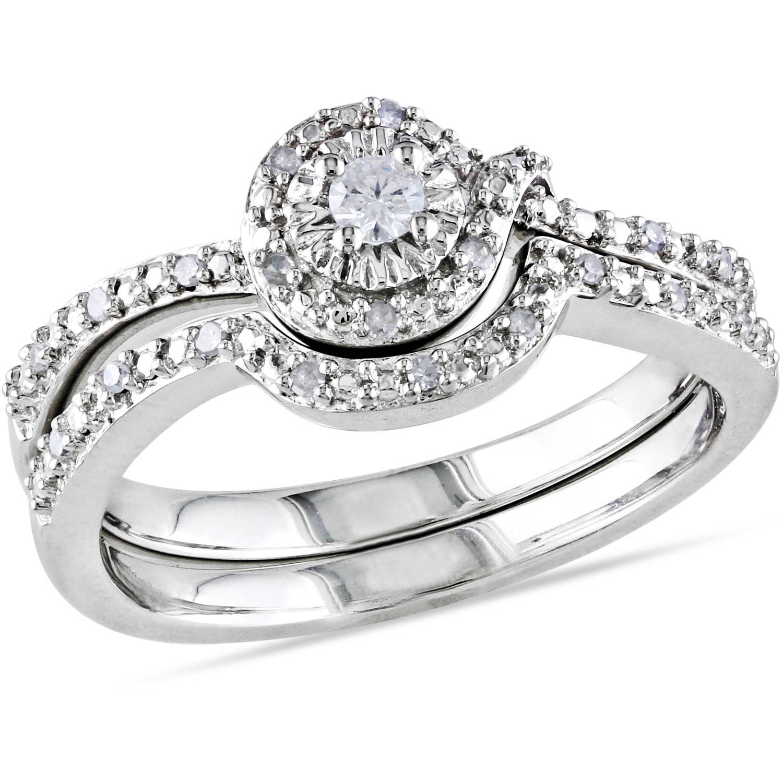 Miabella 1 7 Carat T.W. Diamond Sterling Silver Loop-Style Bridal Set by Generic