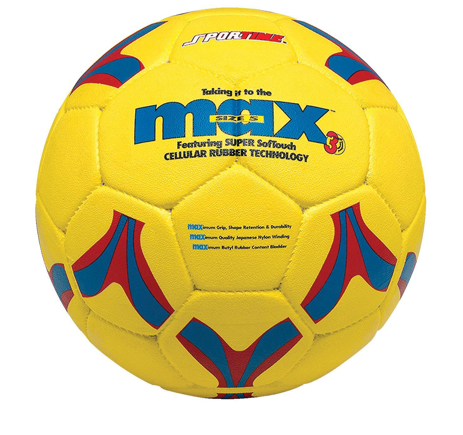 SportimeMax No 4 ProRubber Soccer Ball, Yellow with Red-and-Blue Linear Design
