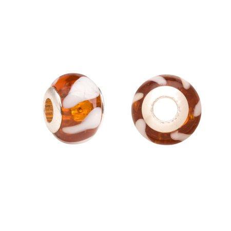 Amber And White Candy Stripe Large Hole Beads Murano Lampwork European Glass Crystal Charms Beads Spacers Fit Pandora Troll Chamilia Carlo Biagi Zable Snake Chain Charm Bracelets 11x14mm (Amber Murano Crystal)