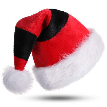 Black And White Santa Hat (Reactionnx Color Matching Santa Hat, Christmas Santa Hat, Double Layer Luxury Plush Christmas Santa Claus Cap Xmas Hat for)