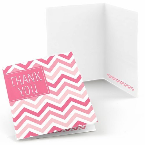 Chevron Pink - Baby, Bridal Shower or Birthday Party Thank You Cards (8 count)