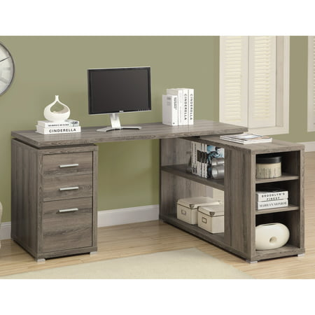 Monarch L Shaped Computer Desk, Dark Taupe Finish