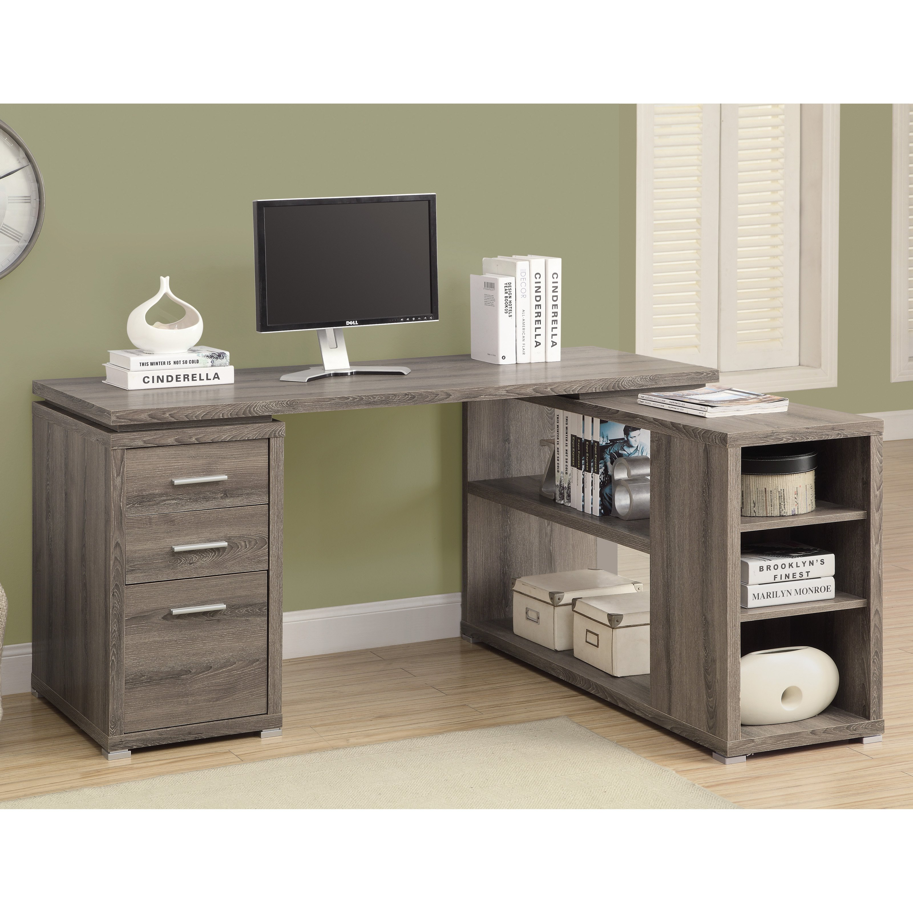 MONARCH - COMPUTER DESK - DARK TAUPE LEFT OR RIGHT FACING CORNER