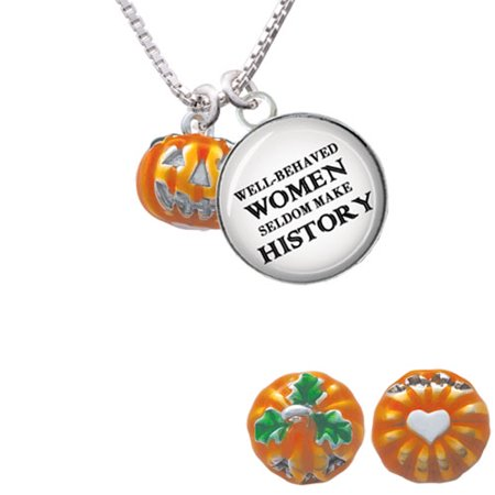 Small Orange Jack Olantern With Stem Well Behaved Women Glass Dome Necklace  18   2