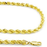 """10k Yellow Gold 4mm Hollow Rope Chain Pendant Necklace Men or Women 20""""-32"""""""