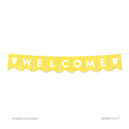 Welcome Yellow Gender Neutral Baby Shower Pennant Garland Party Banner