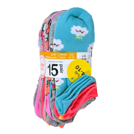 WONDER NATION GIRLS 15 PACK NO SHOW SOCKS