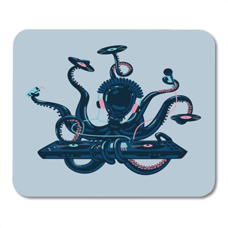 LADDKE Vintage Octopus Dj Vinyl Disc and Turntable Live Music Mousepad Mouse Pad Mouse Mat 9x10 inch
