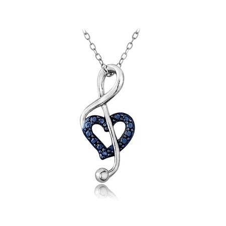 Sterling Silver Diamond Accent Music Note Heart Necklace - - Blue Topaz Diamond Necklace