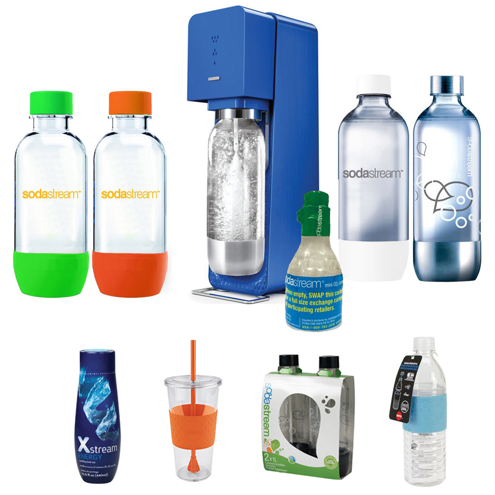 SodaStream Source Soda Maker(Metal) in Blue with Exclusive Kit w/ 4 Bottles & Starter CO2, 1L Carbonating Bottles Blk, Xstream Energy Drink, Hydra Bottle Blue, & Togo Cup Mug Orange