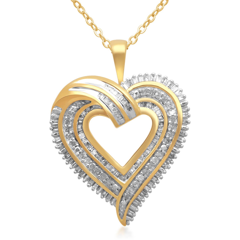 3/4 Carat T.W. Diamond Gold over Brass Heart Pendant