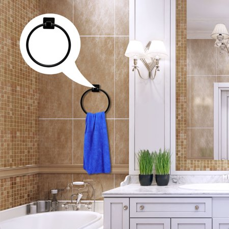 "Stainless Steel Bathroom Towel Ring Hanger Rack Holder Round Black Painting 7"" - image 5 de 7"