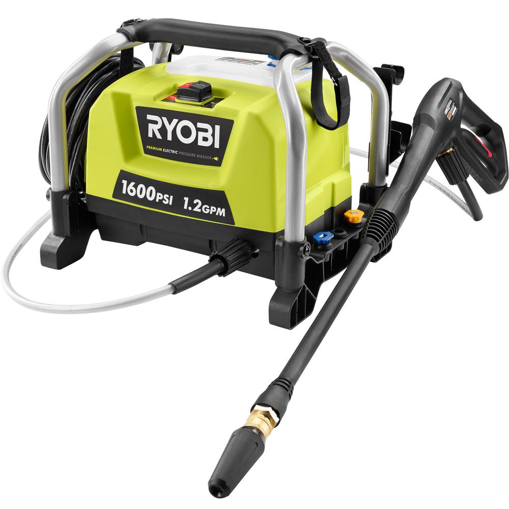 Ryobi Electric Pump Power Pressure Washer 1600PSI 1.2 GPM 13 Amp Motor Turbo Nozzle by