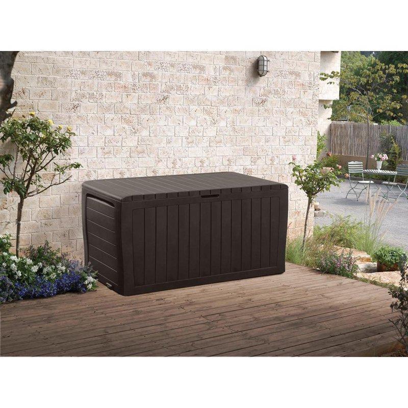 Keter Marvel Plus 71 Gallon Outdoor Storage Deck Box, Espresso Brown