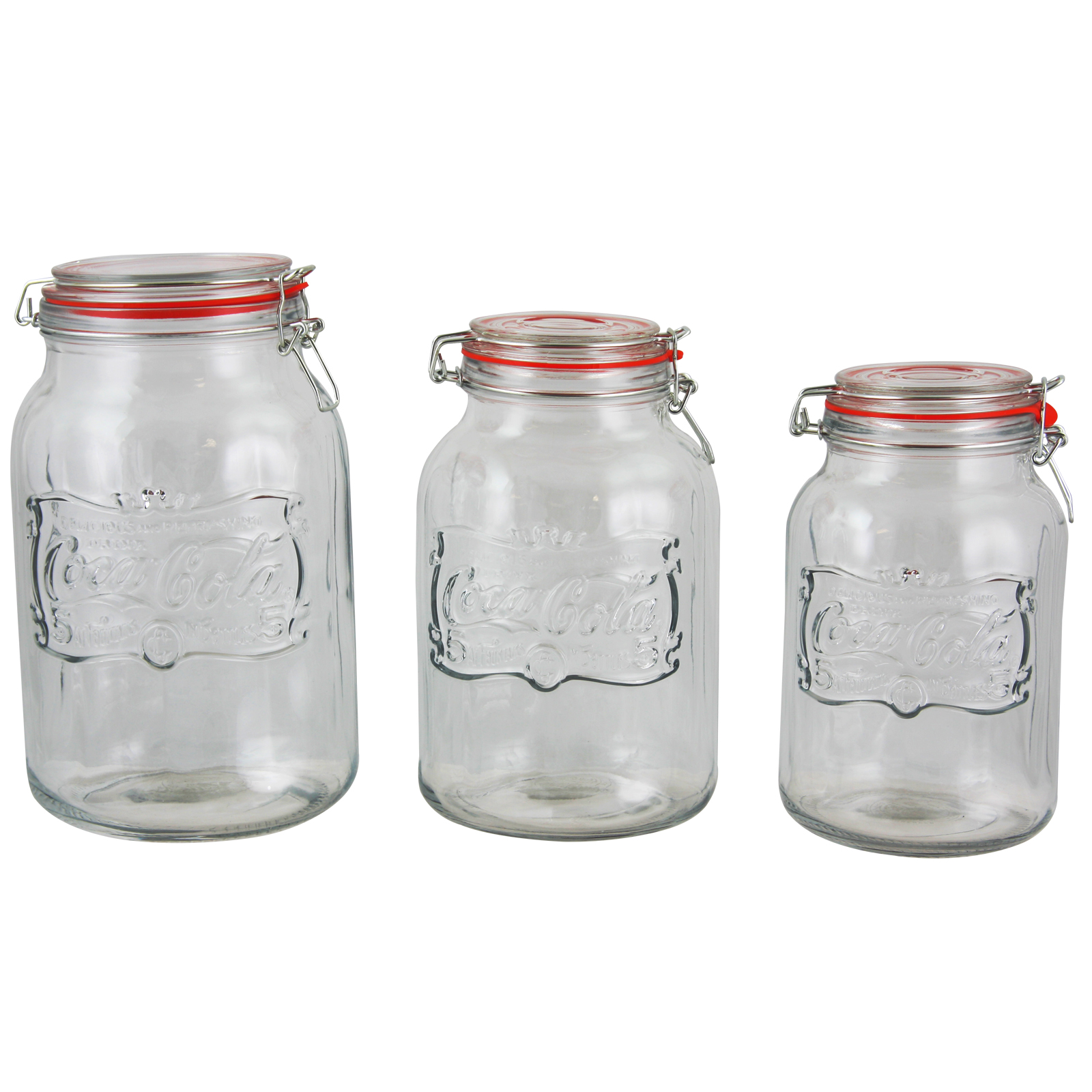 Charmant Coca Cola Country Classic 3 Piece Embossed Glass Preserving/Storage Jar  With Wire Ball