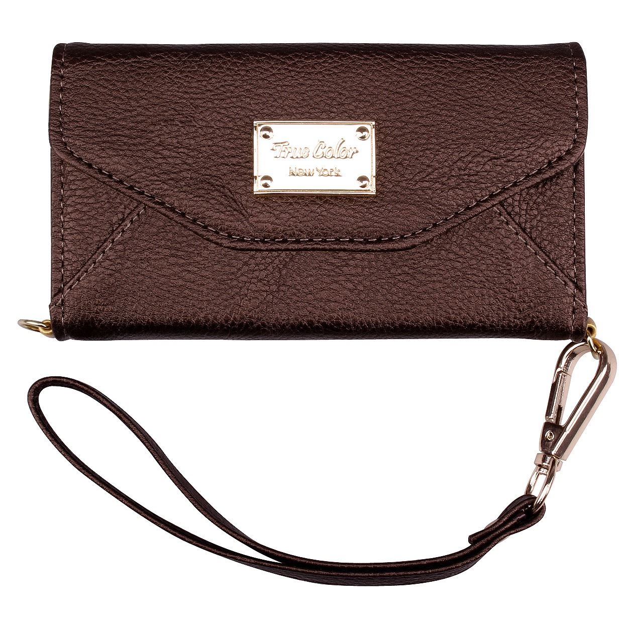 iPhone 6 6s Wallet Case, True Color Premium Leatherette Polka Dots Wristlet Clutch Folio Tri-Fold Wallet Purse Case Cover - Black
