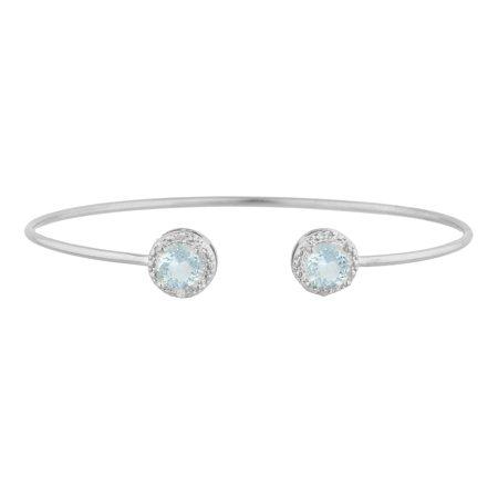 2 Ct Aquamarine & Diamond Round Bangle Bracelet .925 Sterling Silver