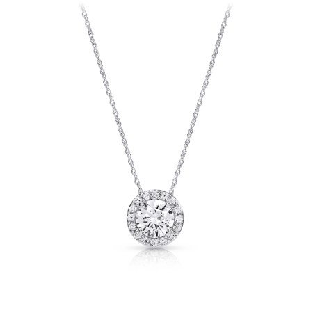 Halo Round Cubic Zirconia Pendant Necklace made with Zirconia from (Fossil Round Pendant)