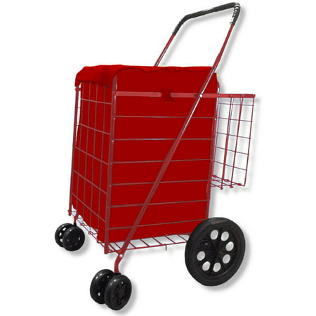 Folding Shopping Cart Double Basket With Jumbo Swivel Wheel  360 Degree Easy Rotation  Free Liner And Net  Red With Red Liner