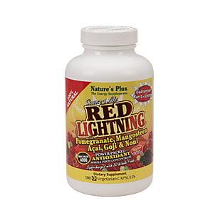 Natures Plus Source de la vie. Red Lightning. Concentré alimentaire Antioxydant. 180 Vcaps.