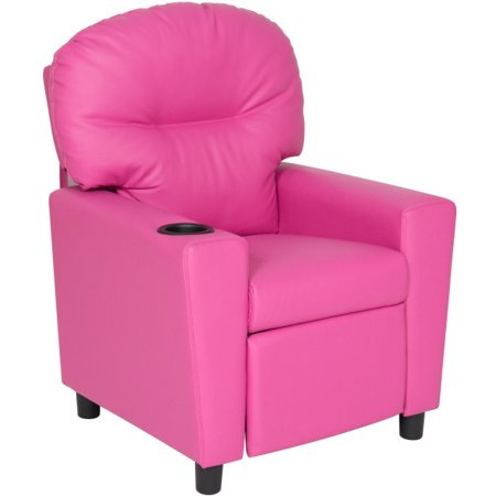 Cool Best Choice Products Vinyl Upholstered Kids Recliner Chair With Cup Holder Pink Pabps2019 Chair Design Images Pabps2019Com