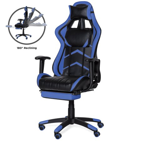 Best Choice Products Ergonomic High Back Executive Office Computer Racing Gaming Chair w/ 360-Degree Swivel, 180-Degree Reclining, Footrest, Adjustable Armrests, Headrest, Lumbar Support -