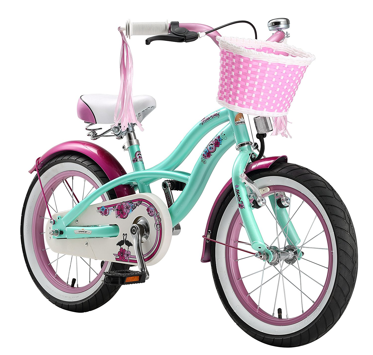 BIKESTAR? Original Premium Safety Sport Kids Bike Bicycle with sidestand and accessories for age 4 year old children | 16 Inch Cruiser Edition for girls/boys | Peppermint