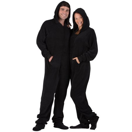"Footed Pajamas - Jet Black Adult Hoodie Chenille Onesie (Adult - Small (Fits 5'5 - 5'7""))"