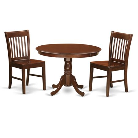Dining Set One Round Kitchen Table Two Chairs Wood Seat 44 Mahogany 42 In 3 Piece