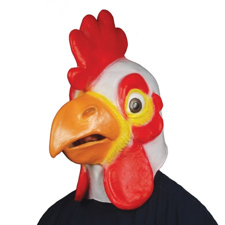 Star Power Men Chicken Head Animal Mask, Red White Orange, One Size - Star Head