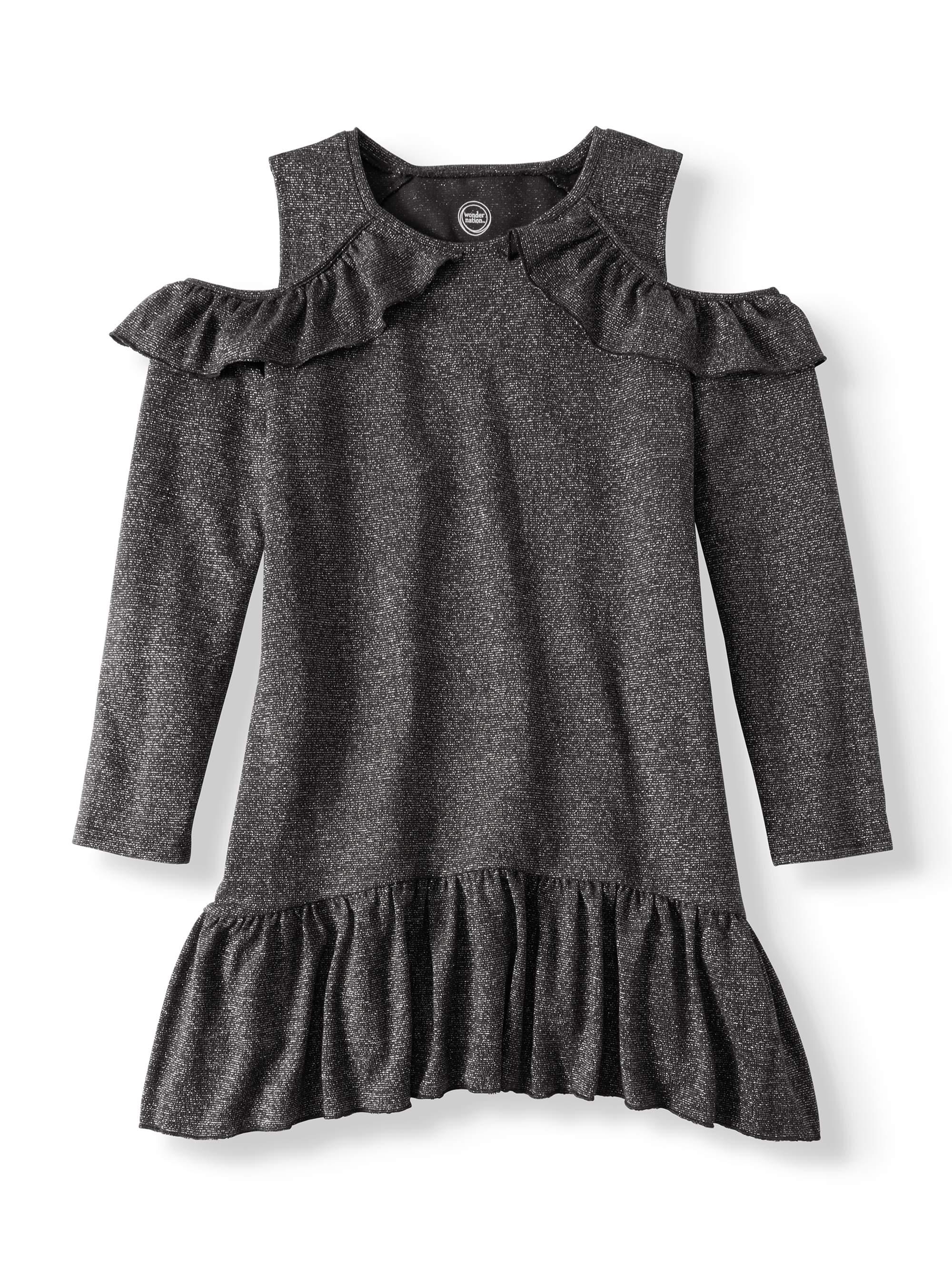 Wonder Nation Girls' Cold Shoulder Hacci Knit Sweater Dress