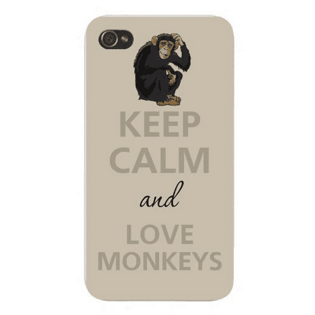 Apple Iphone Custom Case 4 4s White Plastic Snap on - Keep Calm and Love Monkeys w/ Scratching