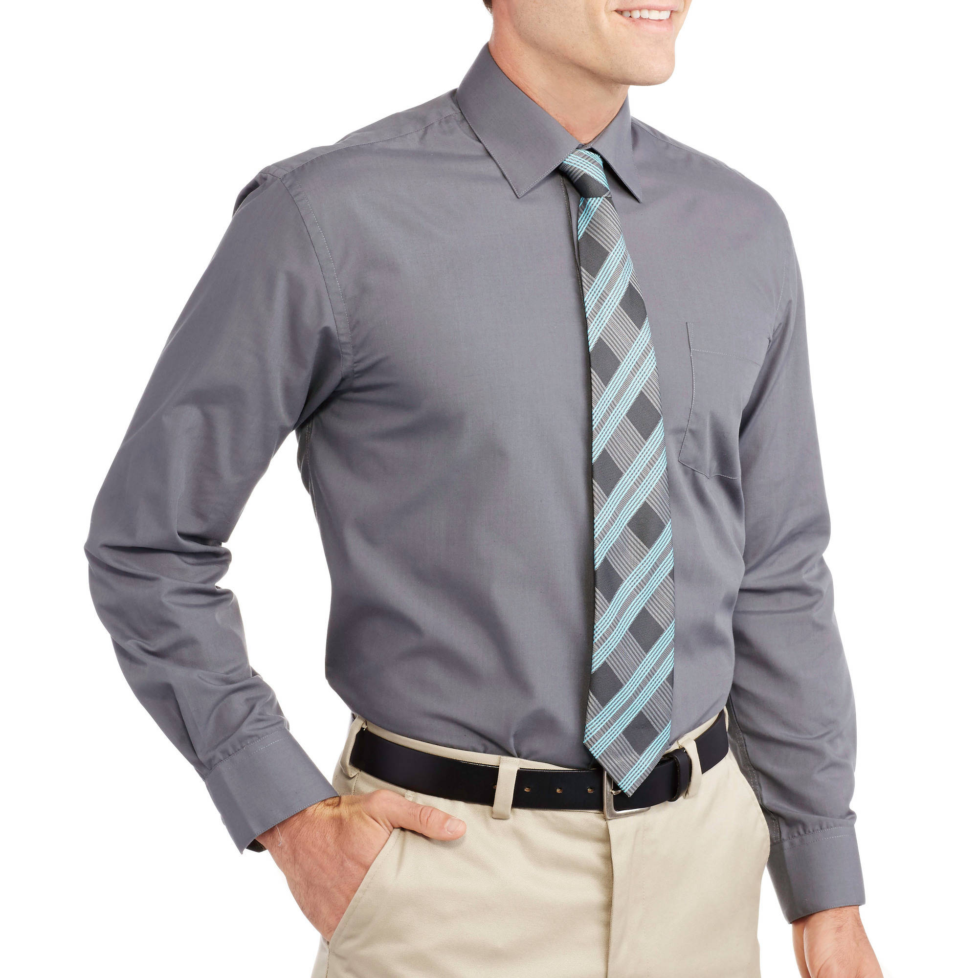 Men's Solid Dress Shirt with Matching Tie