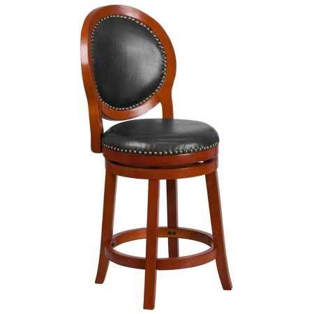 Flash Furniture 26'' High Light Cherry Counter Height Wood Stool with Oval Back and Walnut LeatherSoft Swivel Seat Cherry Wood Counter