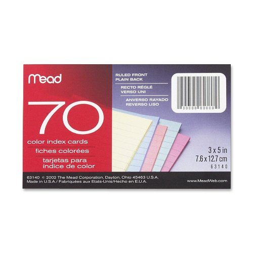 Mead Index Cards, Ruled, 70 Sheets, 3''x5'', Assorted (Set of 4)