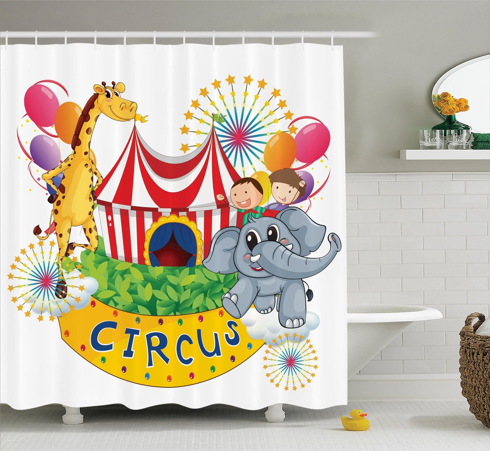 Circus Decor Shower Curtain Set, Circus Show With Kids And Animals Smiling  Magician Children Happiness