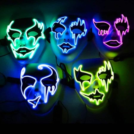 cnmodle LED Mask Halloween Grimace Masquerade Horror Light up Clown Cosplay F Type - Universal Studios Halloween Horror Nights Clown