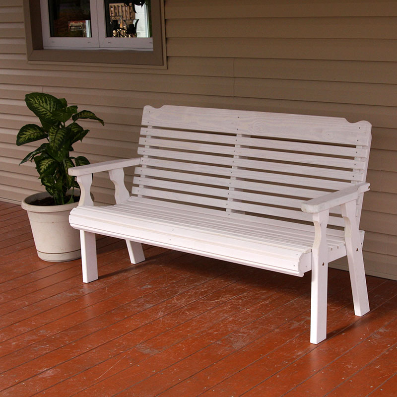 Amish Heavy Duty 800 Lb Roll Back Pressure Treated Garden Bench (4 Foot, Unfinished) by