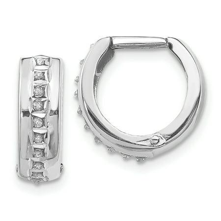 14K White Gold Diamond Fascination Round Huggy Hoop Earrings - image 2 de 2