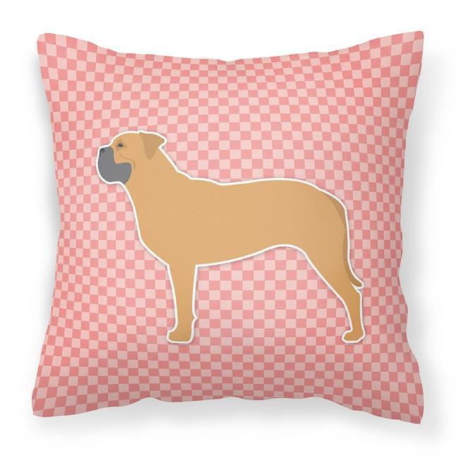 Carolines Treasures BB3671PW1414 Bullmastiff Checkerboard Pink Fabric Decorative Pillow - image 1 of 1