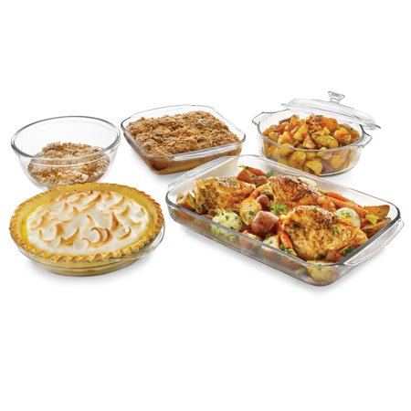 Libbey Baker's Basics 5-Piece Glass Casserole Baking Dish Set with 1 Cover (Baking Sets For Adults)